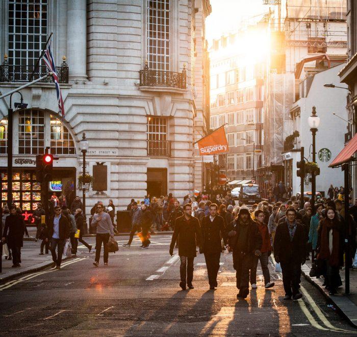 city sunny people street